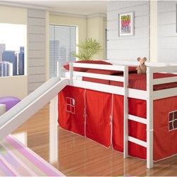 Donco Kids - Donco Kids Twin Loft Tent Bed with Slide - White - 750W-R - Shop for Bunk Beds from Hayneedle.com! The kid in all of us jumped for joy when we saw the Donco Kids Twin Loft Tent Bed with Slide - White. With an imagination-friendly design this loft bed is more than just a loft bed - it s an adventure. The ladder and slide add some fun to even the earliest of bedtimes while below an open play space surrounded by tent walls in your choice of color create the ultimate secret fort. The loft bed is crafted of solid pine in a white finish and it comes complete with the ladder slide tent safety guard rails and support slats for the mattress. Mattress not included.About Donco Trading Co. Headquartered in Fort Worth Texas Donco Trading Company has made youth furniture their specialty. The family-owned and -operated business carries a full line of day beds platform beds bunk beds and more - all reasonably priced. They distribute to and work directly with small business owners specialty stores and more in locations throughout the country. In addition to the Forth Worth office they also have a distribution center in Kenosha Wisconsin and showrooms in Tupelo Mississippi and High Point North Carolina.