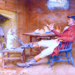 "John Arthur Lomax Teaching a Dog New Tricks - 18"" x 24"" Premium Archival Print - 18"" x 24"" John Arthur Lomax Teaching a Dog New Tricks premium archival print reproduced to meet museum quality standards. Our museum quality archival prints are produced using high-precision print technology for a more accurate reproduction printed on high quality, heavyweight matte presentation paper with fade-resistant, archival inks. Our progressive business model allows us to offer works of art to you at the best wholesale pricing, significantly less than art gallery prices, affordable to all. This line of artwork is produced with extra white border space (if you choose to have it framed, for your framer to work with to frame properly or utilize a larger mat and/or frame).  We present a comprehensive collection of exceptional art reproductions byJohn Arthur Lomax."