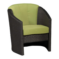 Home Styles - Home Styles Riviera Barrel Accent in Green Apple - Home Styles - Outdoor Chairs - 580380 - Riviera Barrel Accent Chair with Green Apple Cushion-Finally!!  An economical solution for upscale outdoor furniture��_.ready-to-assemble synthetic resin wicker. Body construction consists of Cycroplene a synthetic resin wicker in a deep brown color with a gold strea design woven over rust-resistant powder-coated aluminum frames.  Cycroplene is a 100% recyclable moisture and weather resistant low maintenance material.  All pieces feature shaped legs with adjustable levelers to accommodate uneven surfaces.  All seating pieces bolt together for additional support and sturdiness. Cushions fabrics are stain resistant fade resistant water repellent and requires very little maintenance.