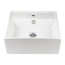 "TCS Home Supplies - Self Rimming Porcelain Ceramic Single Hole Countertop Bathroom Vessel Sink - Self Rimming Design. Countertop Bathroom Vessel Sink. Porcelain Ceramic. Single Hole Installation. Exterior Dimensions: 16 x 16 x 6 Inch. Interior Dimensions: 15"" x 10"" x 4""."