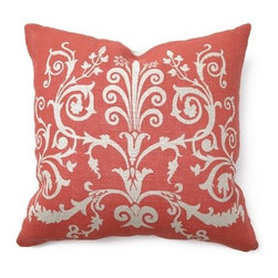 "Villa Home - Illusion Tuscan Scroll Pillow in Red - Features: -Color: Red. -Pillow cover material: 100% Linen. -Pillow insert material: 95% Feather / 5% down - 100% cotton cover. -Print front. -Dimensions: 22"" W x 22"" D, 2 lbs. Note: Back of the pillow is a solid cream color"
