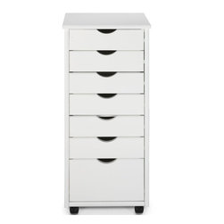 Home Decorators Collection - Stanton 6 + 1 Drawer Storage Cart - Perfect for your kitchen, bath or home office, this Stanton Cart features six small drawers and one large drawer for plenty of storage space for your odds and ends. Since it arrives at your door fully assembled, you can instantly organize any room in your home. Stanton Storage Carts are expertly made from solid hardwood to ensure their high-quality construction. Don't delay; purchase yours today. Undergoes a multi-step finishing process to ensure lasting beauty. Optional casters are available for easy mobility; casters do not have stops.