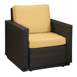 Home Styles Riviera Harvest All-Weather Wicker Arm Chair - The Home Styles Riviera Harvest All-Weather Wicker Arm Chair is not only comfortable and environmentally friendly, but is also a beautiful and economical choice. Featuring a deep brown color with a gold streak design this armchair has harvest colored cushions which add a bright splash of color. 100% recyclable Cycroplene, a synthetic resin wicker, makes up the body and is woven over a rust-resistant, powder-coated aluminum frame. Cycroplene is also moisture- and weather-resistant and easy to maintain with mild soap and water. Beautifully shaped legs have an adjustable leveler which is designed to accommodate uneven surfaces. Pieces of this arm chair bolt together for additional support and sturdiness. Comfortable and soft, the cushions are made from polyurethane with a polyester fiber wrap that is stain-resistant, fade-resistant, water-repellent, and requires very little maintenance. Perfect for relaxing after a long day, you'll love making time to spend outdoors enjoying the beauty and warmth of summer.Additional FeaturesCycroplene construction is 100% recyclableCycroplene is moisture- and weather-resistantEasy to maintain with mild soap and waterAdjustable levelers accommodate uneven surfacesPieces bolt together for added support and sturdinessAbout Home StylesHome Styles is a manufacturer and distributor of RTA (ready to assemble) furniture perfectly suited to today's lifestyles. Blending attractive design with modern functionality, their furniture collections span many styles from timeless traditional to cutting-edge contemporary. The great difference between Home Styles and many other RTA furniture manufacturers is that Home Styles pieces feature hardwood construction and quality hardware that stand up to years of use. When shopping for convenient, durable items for the home, look to Home Styles. You'll appreciate the value.