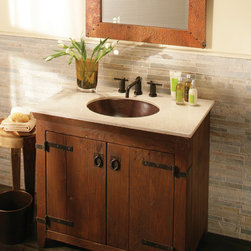 """Native Trails 36"""" Americana Vanity in Chestnut - Character is a thing of the past. Handcrafted by American artisans from reclaimed wood, each Americana Vanity has a character as rich as its history. Its beautifully textured wood, rescued from structures of the past: old barns, homesteads, and fencing, has stood the test of time. These strong heirloom pieces lend soulful presence and are complemented with hand-forged iron hardware. Available in 24"""", 30"""" and 36"""", each in Chestnut, Whitewash, Anvil, and Driftwood finishes. Pair with any of our stone or copper vanity tops."""
