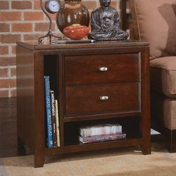 """American Drew Tribecca Rectangular End Table with 2 Drawers - For an end table that looks as good as sarsaparilla tastes, go with the American Drew Tribecca Rectangular End Table with 2 Drawers. Yes, it's got a root beer finish, durable construction, and plenty of storage. Quench your table thirst, pardner.About American DrewFounded in 1927, American Drew is a well-established, leading manufacturer of medium- to upper-medium-priced bedroom, dining room, and occasional furniture. American Drew's product collections cover a broad variety of style categories including traditional, transitional, and contemporary. Their collections range from the legendary 18th-century traditional """"""""Cherry Grove,"""""""" celebrating its 42nd year of success, to the extremely popular """"""""Bob Mackie Home Collection,"""""""" influenced by the world-renowned fashion designer Bob Mackie. """"""""Jessica McClintock Home"""""""" features another beloved designer bringing unique style to an American Drew line. American Drew's headquarters are located in Greensboro, N.C. Their products are distributed through thousands of independently owned retailers throughout the United States and Canada and around the world."""