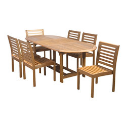 International Home Miami - Amazonia Eucalyptus 7 Piece Armless Oval Extendable Dining Set - Eucalyptus 7 Piece Armless Oval Extendable Dining Set belongs to Amazonia Collection by International Home Miami Great Quality, elegant design patio set, made of solid eucalyptus wood. FSC (Forest Stewardship Council) certified. Enjoy your patio with style with these great sets from our Amazonia outdoor collection.  Table (1), Chair (6)