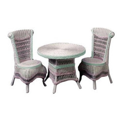 Classic Wicker Table and Chair Set - This Classic Wicker Table and Chair Set is designed specifically with children in mind. Crafted of beautiful wicker and available in a variety of finishes to match any taste this table-and-chair set is an outstanding choice for creating personal space for your child. A high-back design creates an elegant look and plenty of back support. Ornate weaves varied patterns rolled accents and splashes of vibrant color give this set a refreshing quality that will brighten your home. The sturdy construction and exotic style of this table-and-chair set will help you create a unique indoor or outdoor setting for your child.