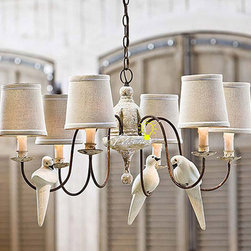 Antique Nature Fabric Shade Pendant Lighting in Painted Finish -