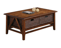 Riverside Furniture - Riverside Furniture Claremont Rectangular Cocktail Table with 2 Baskets in Toffe - Riverside Furniture - Coffee Tables - 79502 - Riverside's products are designed and constructed for use in the home and are generally not intended for rental commercial institutional or other applications not considered to be household usage.