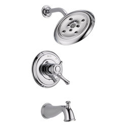 Delta - Delta T17497 Cassidy MultiChoice 17 Series Tub and Shower Trim (Chrome) - Delta T17497 Cassidy MultiChoice 17 Series Tub and Shower Trim (Chrome). The Delta T17497 is part of the Cassidy Series. This tub/shower trim features a Monitor 17 pressure balanced mixing valve, a diverter tub spout, a back-to-back installation capability, and a solid brass forged body. It comes with a lever volume control handle, a temperature adjustment handle, a single-function shower head, and a bright, Chrome finish. This valve trim requires an R10000 Multi-Choice rough valve body (sold separately).