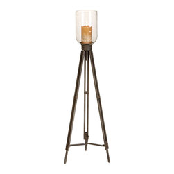 "ecWorld - Antiqued 42"" Tripod Floor Standing Pillar Candle Holder with Clear Glass Top - Creating instant ambiance in a living or dining room this aluminum floor candleholder rekindles the elegance of another era with contemporary flair. Large floor display piece ideal to uplift any room decor."
