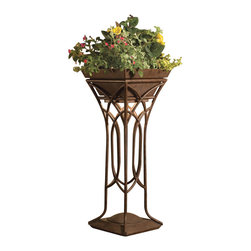 LANDSCAPE - LANDSCAPE Cathedral Light Raised Planter X-TZT51451 - This Kichler Lighting plant stand features a tall height with elegant interweaving along the base, perfect for draping plants to attach and intertwine in. The Textured Tannery Bronze finish aids in blending it in with other fixtures around the home's exterior.