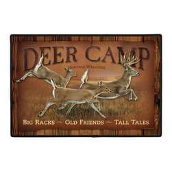 005-Deer Camp Welcome  Doormat - 100% Polyester face, permanently dye printed & fade resistant, nonskid rubber backing, durable polypropylene web trim. Use on the porch or near your back entrance to the house. Indoor and outdoor compatible rugs that stand up to heavy use and weather effects