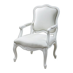 "Carolyn Kinder - Carolyn Kinder Willa Pearl Armchair X-25132 - Gloss white enamel on a carved, solid white poplar wood frame with meticulously reinforced joinery. Supple, white faux leather is accented with individually hammered, polished nickel nails. Seat height is 18""."