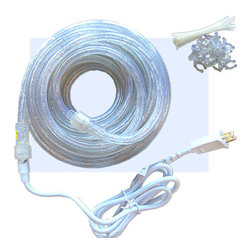 "Inviting Home - 150' flexible lighting kit - rope lighting kit includes: - 150' roll in 1/2"" diameter (2 wire); - 1 power cord; - 1 end cap; - 80 tie straps; - 80 mounting clips ; Rope lighting technical information - UL approved 120 Volt clear flexible light - 1/4 Watt bulbs 1"" on center - rated at 20 000 hours - end-to-end connectors allow multiple lengths to be easily connected up to 300 ft."