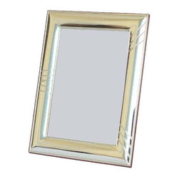 """Silverstar International - 4""""x6"""" Elegancia Sterling Silver Frame - Elegancia silver wedding anniversary photo frame has an accented border with slightly curved diagonal embossing. The Silverstar International bi-laminated 925 Sterling Silver picture frame is meticulously manufactured to an aluminum base for strength & attached to a veneer mahogany wooden back and easel. This contemporary sterling frame comes with an exquisite mahogany back with slide tab closures, which allow easy access to your precious memories. The Elegancia frame is a wonderful choice for wedding and anniversary favors and also is a lovely birthday gift. Every Silverstar picture frame is designed with a tarnish resistant surface for easy cleaning and glare resistant glass."""