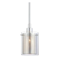 George Kovacs - Grid II P960 Mini Pendant Light | George Kovacs - By George Kovacs.The shade of the Grid II P960 Mini Pendant Light uses two cylinders to diffuse light from the lamp within. The inner-shade is made of chrome mesh and the outer shade is clear glass. The resulting fixture gives off a visually interesting glow from within while providing direct light on the surface below.Hanging height is adjustable.