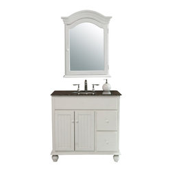"Stufurhome - 36"" Snow White Single Sink Vanity With Baltic Brown Granite Top and Mirror - Quaint and charming, the 36"" Snow White Single Sink Vanity features a creamy white finish contrasting beautifully against the Baltic Brown Granite top. The cabinet itself sits atop curved bun feet and is enhanced with rustic-style paneled doors, complete with matching wooden knobs. Two storage drawers provide extra space and the included mirror adds to the overall look. Guests will marvel at your decorating ingenuity."