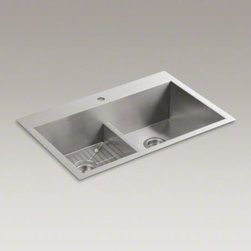 "KOHLER - KOHLER Vault(TM) 33"" x 22"" x 9-5/16"" Smart Divide(R)  top-mount/under-mount doub - The distinctive, modern design of the Vault dual-mount sink lends a contemporary vibe to your kitchen. Handcrafted from stainless steel, this sink features tightly angled corners to maximize basin space and lowered divider for freedom of movement between"
