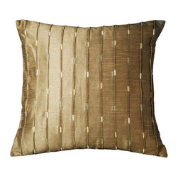 None - Neutrino 18-inch Mole Brown Decorative Throw Pillow (Set of 2) - Hand-crafted in India, these beautiful throw pillows will add a simple sophistication to any space. Designed with lustrous polyester fabric, these Neutrino mole brown pillows feature a striped pattern with several colorful accents.