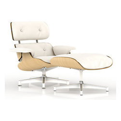 Herman Miller - Eames Lounge Chair, White Ash Frame, Pearl White Mcl Leather - The Eames Lounge chair and and Ottoman is a staple in high furniture design.  It's widely regarded as one of the finest lounge chairs ever conceived, and some save their entire lives to own this pieces of history.  Designed by Charles and Ray Eames in the 1950s, this chair is still as modern today as it was then, and its classic look and sleek lines will add elegance to any seating space.