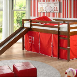 Donco Kids - Donco Kids Twin Loft Tent Bed with Slide - Light Espresso - 750E-R - Shop for Bunk Beds from Hayneedle.com! What will your little one love most about the Donco Kids Twin Loft Tent Bed with Slide - Light Espresso? Will it be the ladder and slide which makes even the earliest of bedtimes fun? Or will it be the tent below which features an open space for all sorts of adventures plus a tent in your choice of color? Actually we think he or she will love it all. And parents will love the solid pine construction guard rails for added safety and rich light espresso finish. Mattress not included.About Donco Trading Co. Headquartered in Fort Worth Texas Donco Trading Company has made youth furniture their specialty. The family-owned and -operated business carries a full line of day beds platform beds bunk beds and more - all reasonably priced. They distribute to and work directly with small business owners specialty stores and more in locations throughout the country. In addition to the Forth Worth office they also have a distribution center in Kenosha Wisconsin and showrooms in Tupelo Mississippi and High Point North Carolina.