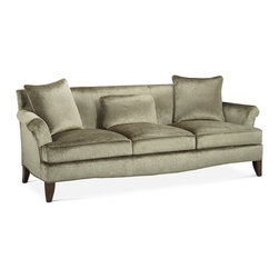 Baker Furniture - Sensei Sofa - Roll arm sofa with a tight back, a loose seat and throw pillows. Shaped a pron. Tapered legs.