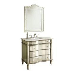 """Ashley All Mirrored Bathroom Sink Vanity w/Matching Mirror 36"""" - Ashley meets contemporary classic in this exquisite creation worthy of an empress. This vanity provides opulence with lavish materials and premium features."""