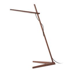 "Pablo Designs - Clamp Floor - LED Floor Lamp | Pablo - Pablo Lighting Clamp Floor LED Floor Lamp features wood construction and multple finishes. White Oak / Red Cord or Walnut / Black Cord.�_ Understated beauty and an uncompromising level of utility are key to the Pablo design philosophy,"" says designer Dana Cannam on his inspiration for Clamp. ""The opportunity to extend that sensitivity to a material as essential as wood was a natural transition."" Clamp continues Pablo's tradition of offering simple, efficient pieces by combining two basic elements — wood and light — in a seemingly oppositional pairing of the natural and the technological. While warm, North American hardwood composes its frame, the most sustainable, energy efficient LED technology comprises its light source. �_ Designed for versatility and portability, the Clamp, freestanding, floor and mini models all include a minimal number of parts that enable infinite adjustment of its warm, diffused light. �_Unlimited Adjustiment:Lamp arm combines an ultra-slim LED light source�_with 360�� rotation and up to 24"" (61cm) of height�_adjustment. Angled post allows for maximum reach�_and directional light focus. �_ Ultimate Flexibility:Clamp Floor brings the simplicity of the Clamp lamp to any commercial or residential environment. �_ Manufacturer:�_PabloSize: 18.5 in. base x 52 in. height x 26 in. length x 8 ft. cord lengthLight Source: 1 x 9W / 120V�_(108x) High output LED array�_[485 Lumens/ 85 CRI/ 3000K color temp./ 50K hour lifespan]�_- includedCertifications:�_ETL, CE, PSE, RoHSDimmable�_Hi low dim control"