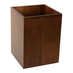 Decorative Bathroom Wastebasket, Brown - A wastebasket of light or dark wood adds warmth to your modern bathroom and is preferable to metal designs that have a tendency to rust and look unclean. This one's straightforward, rectangular form would make a great complement to a wall-hung bowl basin