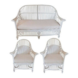 """Pre-owned White Stick Wicker 3-Piece Set - A charming three piece twin reed or stick wicker set in white paint. The set includes two armchairs and one settee, all with existing cushions.     Seat height with cushion is 17"""".   Chairs measure 29"""" w x 30"""" d x 34"""" h.  Settee measurements are 55"""" 30"""" x 354""""."""