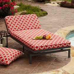 None - Alyssa Red Adjustable Outdoor Chaise with Corded Cushion - Add a beautiful addition to your outdoor space with this adjustable chaise lounge chair and red cushion. With its sturdy metal frame, plush mildew-, fade-, and stain-resistant cushion and adjustable reclining back, this chaise boasts extreme comfort.