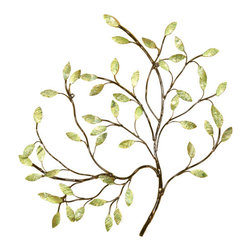 Welcome Home Accents - Green leaves wall decor - The Green Leaves Wall Decor piece brings nature indoors and will lighten up any room. This antiqued metal wall art features oil rubbed bronze stems that are adorned with capiz shells leaves painted in variegated metallic greens. Hooks on back for easy hanging.
