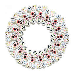 Cardboard Safari - Dia de los Muertos Wreath, Multi - Our recycled Wreaths are perfect for decorating your home or business. Our white cardboard is especially easy to paint or decorate using markers, glitter and other craft materials.