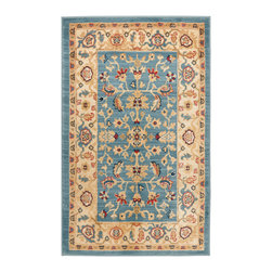 """Safavieh - Tilda Rug, Light Blue / Cream 2'6"""" X 4' - Construction Method: Power Loomed. Country of Origin: Turkey. Care Instructions: Vacuum Regularly To Prevent Dust And Crumbs From Settling Into The Roots Of The Fibers. Avoid Direct And Continuous Exposure To Sunlight. Use Rug Protectors Under The Legs Of Heavy Furniture To Avoid Flattening Piles. Do Not Pull Loose Ends; Clip Them With Scissors To Remove. Turn Carpet Occasionally To Equalize Wear. Remove Spills Immediately. The dramatic patterns of heirloom Serape, Sultanabad and Oushak rugs are recreated for 21st century lifestyles in the Austin Collection. Power-loomed of long-wearing, easy-care polypropylene, each rug stands up to heavy traffic while adding timeless beauty to entry hall, living room, kitchen and more."""