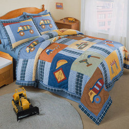 None - Construction Zone Applique Embellished 3-piece Quilt Set - Kids don't just want style, they want whimsical quilt bedding sets, such as those designed by Construction Zone. This patch-style quilt is made from cotton and is available in a twin or queen size. Patterns feature pastel applique colors.