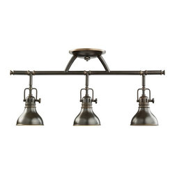 Kichler Lighting - Kichler Adjustable Rail Light for Ceiling or Wall Mount - 7050OZ - This rail light can be mounted on the ceiling or the wall. The lamps can swivel up to 90 degrees and rotate 350 degrees allowing you to customize this fixture to your specific needs. When mounted on the wall this fixture measures 9 inches in height and extends out 7-1/2 inches. The height from the center of the wall opening is 5-3/4 inches. Takes (3) 50-watt halogen MR-16 bulb(s). Bulb(s) sold separately. Dry location rated.