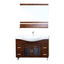 Bellaterra - 48 In Single Sink Vanity - Wood - Walnut - Add a unique contemporary flare to your home's decor with this mission style design sink chest vanity. The medium walnut finish is refreshing and will surely add to your home's ambiance. Solid oak with semi close finish to ensure water proof surface against bathroom humidity. Dimension: 48x18.9x34.8 * ** * Birch* Medium walnut* White Ceramic * White Ceramic Sink* Nickel finish hardware* Pre-drilled with 1 hole - One slot faucet, faucet and mirror not included* Slight assembly required. Dimensions: 48 in. x 18.9 in.