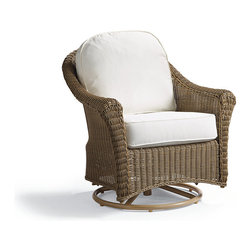 Frontgate - Charleston Swivel Outdoor Lounge Chair with Cushions - Traditional rolled-arm seating. Rounded, all-weather wicker in a weathered pebble finish. Rust-resistant powdercoated aluminum frame. All-weather cushions have a high density, high resiliency foam with a Dacron wrap. Covered in 100% solution dyed fabric that resists mold, mildew and fading. Our Charleston Swivel Chair is comfortable and elegant, yet unyielding against the elements. Designed with the style of classic woven furniture, Charleston is crafted with a resilient all-weather wicker over a powdercoated aluminum frame. The smooth rocking and swivel motion plus plush cushions compel you to wile away an afternoon.Part of the Charleston Collection.  .  .  .  .  . 5-year warranty on resin wicker . Swivel chairs require some assembly . Imported.