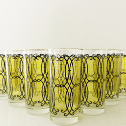 Vintage Midcentury Modern Green/Black Scroll Tumblers by Mod Rendition, Set of 7 - I love the pop of chartreuse in this vintage set of glasses. They'd be perfect for the bar cart.