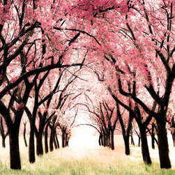 Cherry Blossom Orchard, Tree Art Nursery Print, Wonderland by Raceytay - This is gorgeous. I can't imagine a prettier theme or color scheme for a little girl's nursery.
