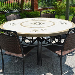 """Living'ROC - 63"""" Round Stone Outdoor Marble Mosaic Dining Table - LUXOR - Luxury and refined either outdoor or indoor atmosphere! Discover sublime LUXOR and let yourself be seduced by the meeting of two noble materials that are Spanish marble and Egyptian Beige Galala. Accommodating 6 to 10 persons for this round 63inches in diameter you will be the envy of your guests. Its sturdy and neat structure will make this stone (marble) table (sold without chairs) a safe value that will fit perfectly with your interior or exterior environment. The Outdoor range is handcrafted suitable for all the lovers of fine materials in search of an extraordinary finish! You will not find something similar in traditional shops!     We have not forgotten the comfort of your ears and maintenance of your decks and other spaces by incorporating plastic skids 'anti noise - protector' on all table legs. This almost invisible detail will convince the most demanding looking for an easy-maintenance and easy to live with!  The various treatments applied on the table top as well on the base and chairs give our products exceptional resistance to rust on the wrought iron parts sun and rain damage for the natural stone plate. To complete your project with buying an impressive top of the range natural stone table you can add our wrought iron chair DIAMOND  model perfectly suited to the mood and overall finish of the table and the base by  clicking here.Every art piece is unique! Our slate is multicolored and color vary from one plate to another gray silver brown yellow ochre topaz etc.. The photos you see online have been taken with extreme care by our Founder CEO - Florent LEPVREAU because without them we would not be one of the natural stone business key player of the online European continent. Once you have encountered the product in your home you will always have pure happiness for the love of the materials. It will be beyond your expectations because what you see online at livingroc.net is what y"""