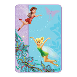 Franco Manufacturing Company Inc - Disney Tinkerbell Fairy Friends Glow Twin Plush Bed Blanket - Features: