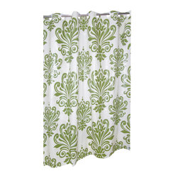 "EZ-ON PEVA ""Beacon Hill"" Shower Curtain in Sage on Ivory - ""Ez On"" EVA shower curtain with built in shower curtain hooks:  size 70"" wide x 72"" long; pattern name ""Beacon Hill""; color sage and ivory. Rejuvinate your bathroom without the frustration with our classical ""Beacon Hill"" EZ-ON PEVA Shower Curtain (standard size 70'' wide x 72'' long). Using patented Hookless technology, our EZ-ON curtains come with built in flat top rings that simply snap on to your existing shower curtain rod--pesky hooks no longer necessary. Additionally, this curtain's heavy (6 gauge) PEVA material wipes clean like a vinyl but lacks both PVC and the chlorine tending to give vinyl curtains an unseemly chemical smell. PEVA is also inherently resistant to mildew and mold. This water repellant curtain does not require a separate liner. Here in Sage on an Ivory Background, our EZ-ON ""Beacon Hill"" PEVA Curtain is available in black on white.  Wipe clean with damp sponge with warm soapy cleaning solution"