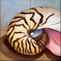 The Tile Mural Store (USA) - Tile Mural - Nautilus  - Kitchen Backsplash Ideas - This beautiful artwork by Paul Brent has been digitally reproduced for tiles and depicts a beautiful shell.    Tile murals with shells and decorative shell tiles are timeless and are excellent to add to your kitchen backsplash tile project or your tub and shower surround bathroom tile project. Images of sea shells on tiles add a unique element to your tiling project and are a great kitchen backsplash idea for a coastal home. Use a shell tile mural for a wall tile project in any room in your home where you want to add interest to a plain field of wall tile. Bathrooms always look best with the addition of decorative wall tiles so why not add decorative tiles with images of shells?