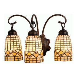 """Meyda - 18""""W Tiffany Acorn 3 Lt Vanity Light - Louis comfort tiffany inspired golden acorns dance playfully in a ring around these geometric gridpatterned elongated shades in autumn harvest ivory. Thesimply stated three light vanity is finished in a warmmahogany bronze. Bulb type: med bulb quantity: 3 bulb wattage: 60"""