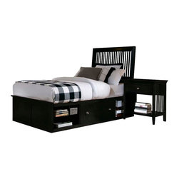 American Drew - American Drew Sterling Pointe 2 Piece Storage Bedroom Set in Black - Sterling Pointe, from American Drew, is a collection of bedroom furniture with simple lines, but spectacular possibilities. Sterling Pointe is a versatile group that can easily capture any lifestyle and work in any setting. The collection can go from urban chic to country cottage, from transitional to coastal, and all personal styles in between! Sterling Pointe is offered in four popular colors; Black, White, Cherry and Maple. All case pieces come with matching color hardware and polished chrome finish hardware for even more personalization. In addition, the Black and White colored case pieces have the option to customize the tops in either Cherry or Maple colors. When you choose this option, you get hardware in the matching case color, matching top color and polished chrome finish. The three bed styles are offered in multiple sizes to fit any room and setting.This is the perfect collection for that condo or town home, second bedroom or second home. Sterling Pointe has a timeless appeal that can adapt and last a lifetime. Sterling Pointe will capture the essence of your personal style.