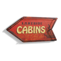 """Grandin Road - Lakeside Cabins Vintage Metal Sign - Arrow-shaped signs with """"Gone Fishing"""" and """"Lakeside Cabins"""" text. Crafted from engineered wood and iron. Signs arrive ready to hang, or place on a table or bookshelf for instant enjoyment. Enhance the look of your weekend getaway, or enjoy a taste of cabin living at home by displaying one --- or better yet, both --- of our arrow-shaped Vintage Metal Signs. Hand-painted finishes give them a well-loved look from the moment they arrive. Perfect additions to the lake house or woodland lodge. Arrow-shaped signs with """"Gone Fishing' and """"Lakeside Cabins' text .  .  ."""