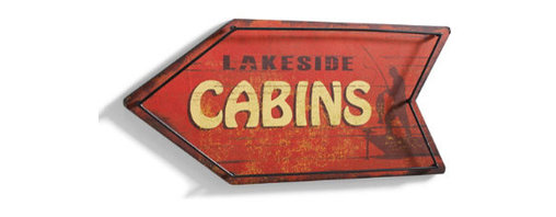 "Grandin Road - Lakeside Cabins Vintage Metal Sign - Arrow-shaped signs with ""Gone Fishing"" and ""Lakeside Cabins"" text. Crafted from engineered wood and iron. Signs arrive ready to hang, or place on a table or bookshelf for instant enjoyment. Enhance the look of your weekend getaway, or enjoy a taste of cabin living at home by displaying one --- or better yet, both --- of our arrow-shaped Vintage Metal Signs. Hand-painted finishes give them a well-loved look from the moment they arrive. Perfect additions to the lake house or woodland lodge. Arrow-shaped signs with ""Gone Fishing' and ""Lakeside Cabins' text .  .  ."
