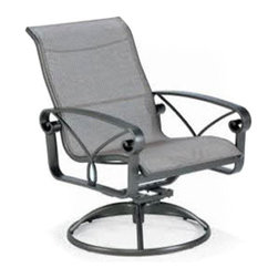 Winston - Winston Palazzo Sling High Back Swivel Tilt Dining Chair - M4349R-JAV-953 - Shop for Chairs and Sofas from Hayneedle.com! Look to your left now look to your right now look up now imagine how much more pleasant that would be if you were doing this on your back porch while sitting in the Winston Palazzo Sling High Back Swivel Tilt Dining Chair instead of sitting in front of your computer. Lean back into the roomy comfort of this outdoor patio chair and enjoy the wide arms and ergonomic shape of the rust-proof aluminum frame. You can enjoy the curled details and slim profile in the frame finish of your choice combined with your favorite Sunbrella outdoor fabric for the comfy sling. Sunbrella fabrics are fade-resistant and designed to resist harsh outdoor conditions and when you combine them with the rust-proof aluminum frame you have an outdoor centerpiece that you'll be enjoying for years.About Winston Furniture Company Started in 1975 Winston Furniture Company manufactured simple aluminum furniture with virgin vinyl straps. As the popularity of casual furniture increased and consumers craved comfort Winston answered the call by being the first company to introduce cushioned mildew-resistant fabrics for outdoor use. In 1982 Winston was once again at the forefront by adding stylish easy-to-maintain sling furniture to its product line. Today the Winston Furniture line is comprised of cushion and sling furniture with a host of styles. A variety of powder-coated paint finishes and sling colors along with over a hundred fabric selections allow you to create just the look you need. All Winston Furniture product materials are proudly sourced in the U.S.A. Welding is completed in a state-of-the-art manufacturing facility in Juarez Mexico. Products are shipped to El Paso Texas for finishing and final inspection before being shipped to your door. Winston Furniture Company Inc. has earned several design and service awards from retailers over the past 25 years. The most